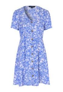 peacocks blue floral v-neck button front tea dress