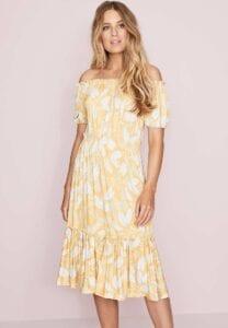peacocks yellow and white floral print bardot dress