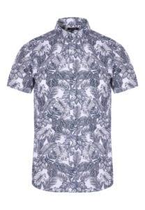 peacocks white short sleeve leaf print linen shirt