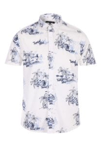 peacocks cream short sleeve hawaiian print shirt