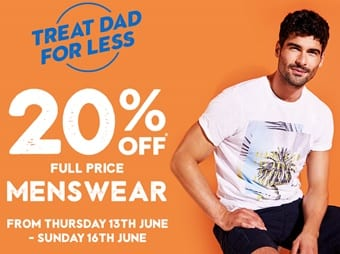 20% off Peacocks menswear for Father's Day