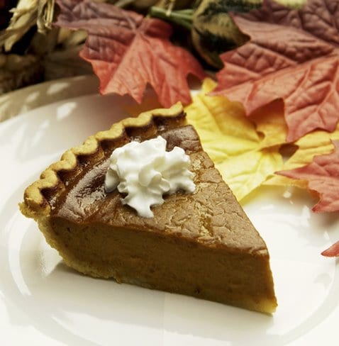 horizontal pumpkin pie still life dessert season seasonal fall autumn thanksgiving cooked baked baking fruit pastry crust holiday tradition traditional custom customary festivity festivities celebrating celebration food slice leaves whipped cream dairy topping indian corn plate dish VStock
